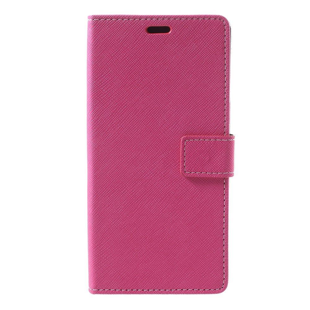 Image of   Galaxy Note 8 - Pu læder cover m/kryds tekstur - Rosa