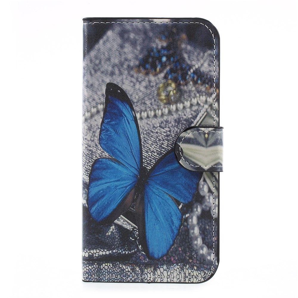 Image of   Galaxy J5 (2017) - Pu læder cover m/print - Blå sommerfugl