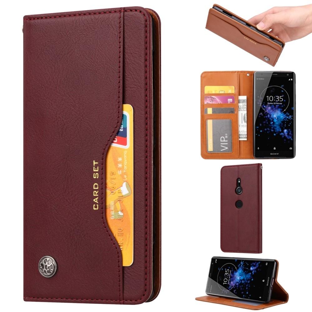 Sony Xperia XZ2 - Læder pung / cover - Vinrød