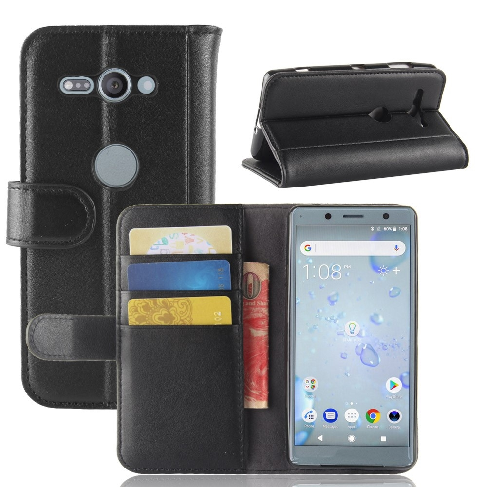 Sony Xperia XZ2 Compact - Ægte læder pung / etui - Sort