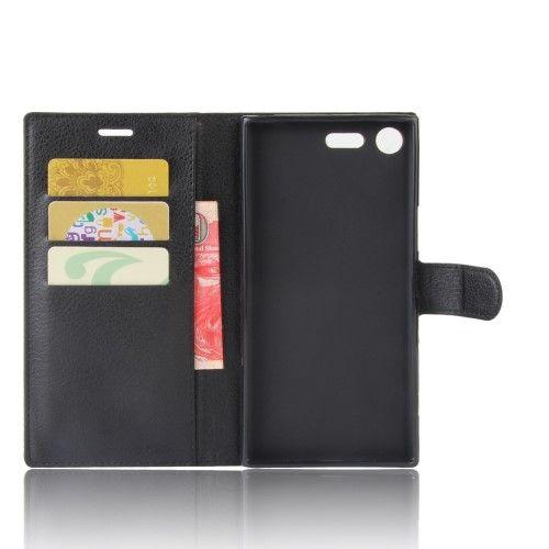 Billede af Sony Xperia XZ Premium - læder cover / pung - Sort