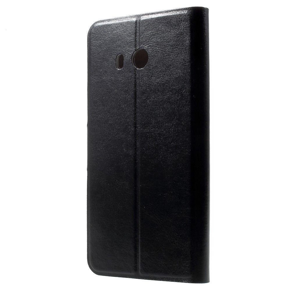 Image of   HTC U11 - Pu læder cover Crazy Horse med stålplade - Sort