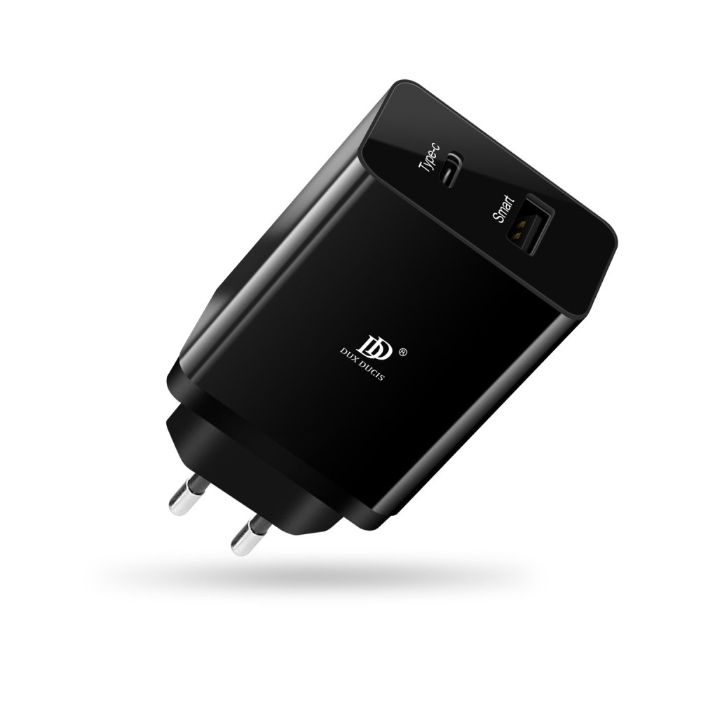Image of   DUX DUCIS - USB + Type-C Dual smart oplader 30W - Sort