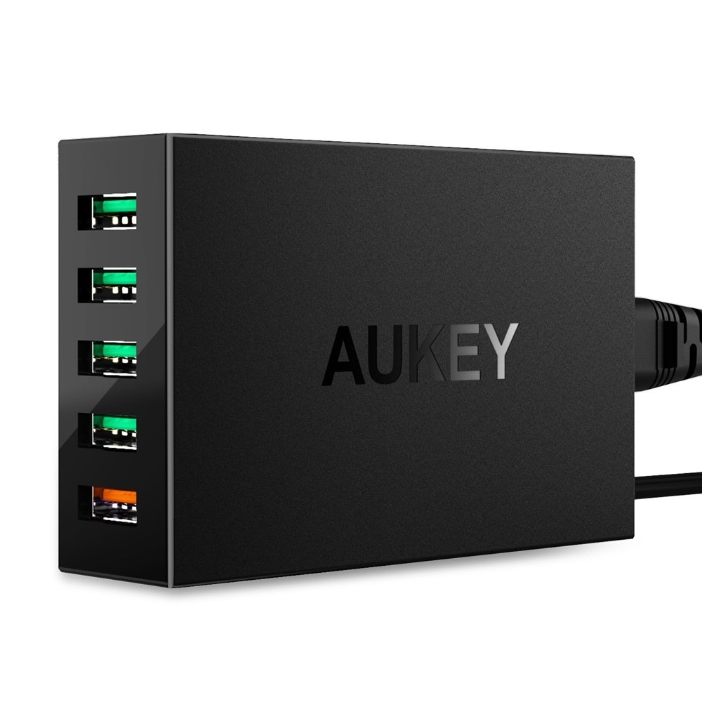 AUKEY - USB quick charge 3.0 oplader adapter med 5 porte