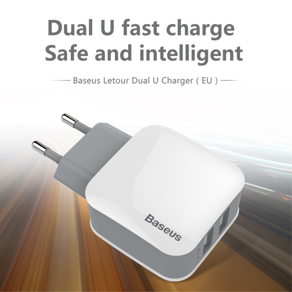 Image of   BASEUS Letour - Dual USB oplader adapter 2.4A