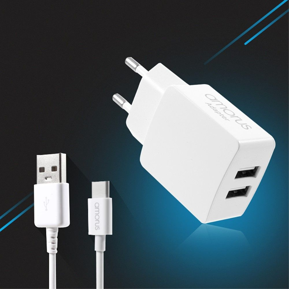 Image of   AMORUS Dual USB adapter m usb type-C kabel- Hvid