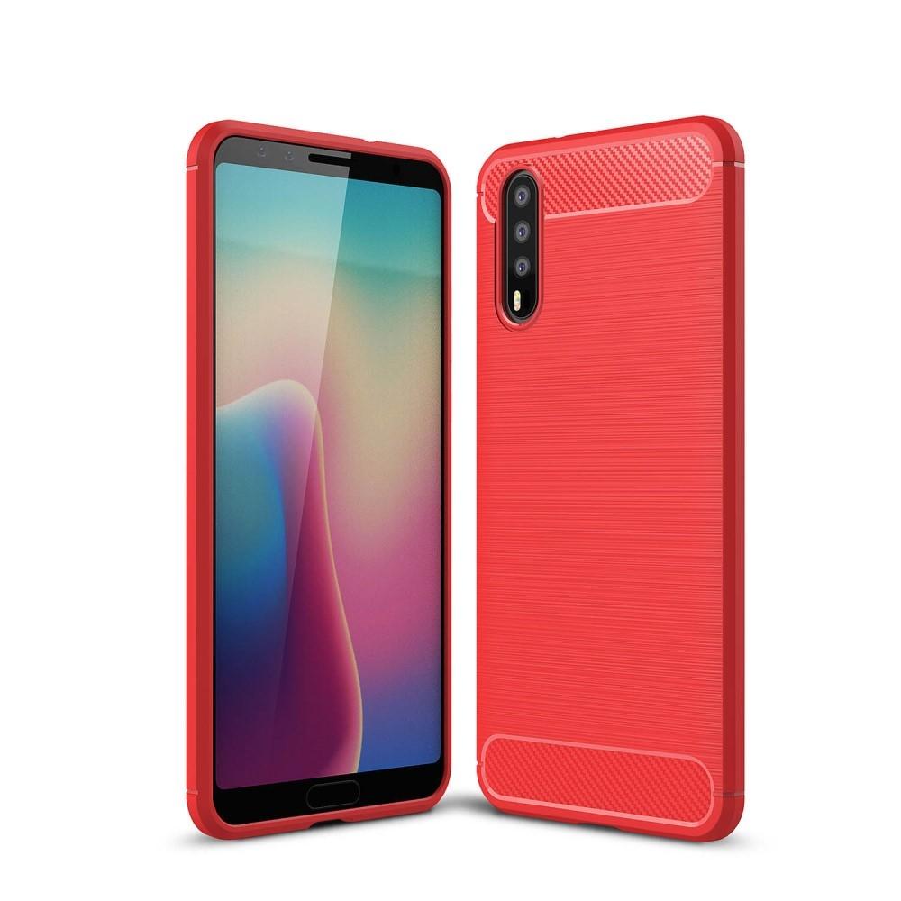 Huawei P20 - Gummi cover med børstet design - Rød