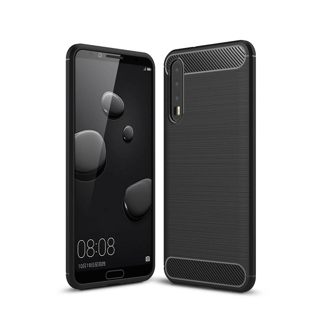 Image of   Huawei P20 Pro - Gummi cover med børstet design - Sort
