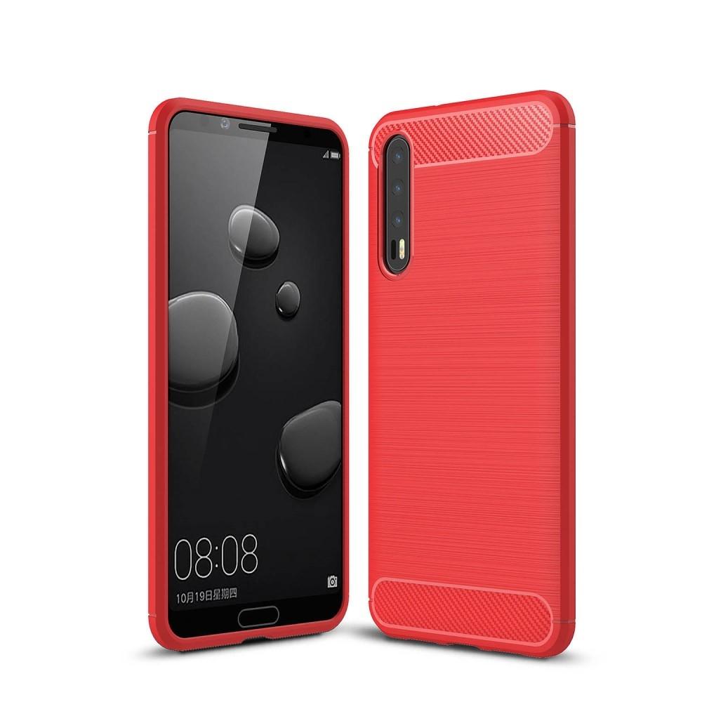 Image of   Huawei P20 Pro - Gummi cover med børstet design - Rød
