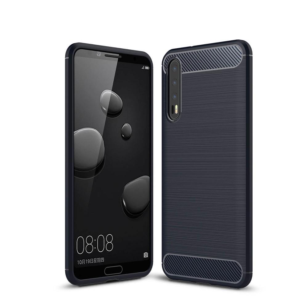 Image of   Huawei P20 Pro - Gummi cover med børstet design - Mørkeblå