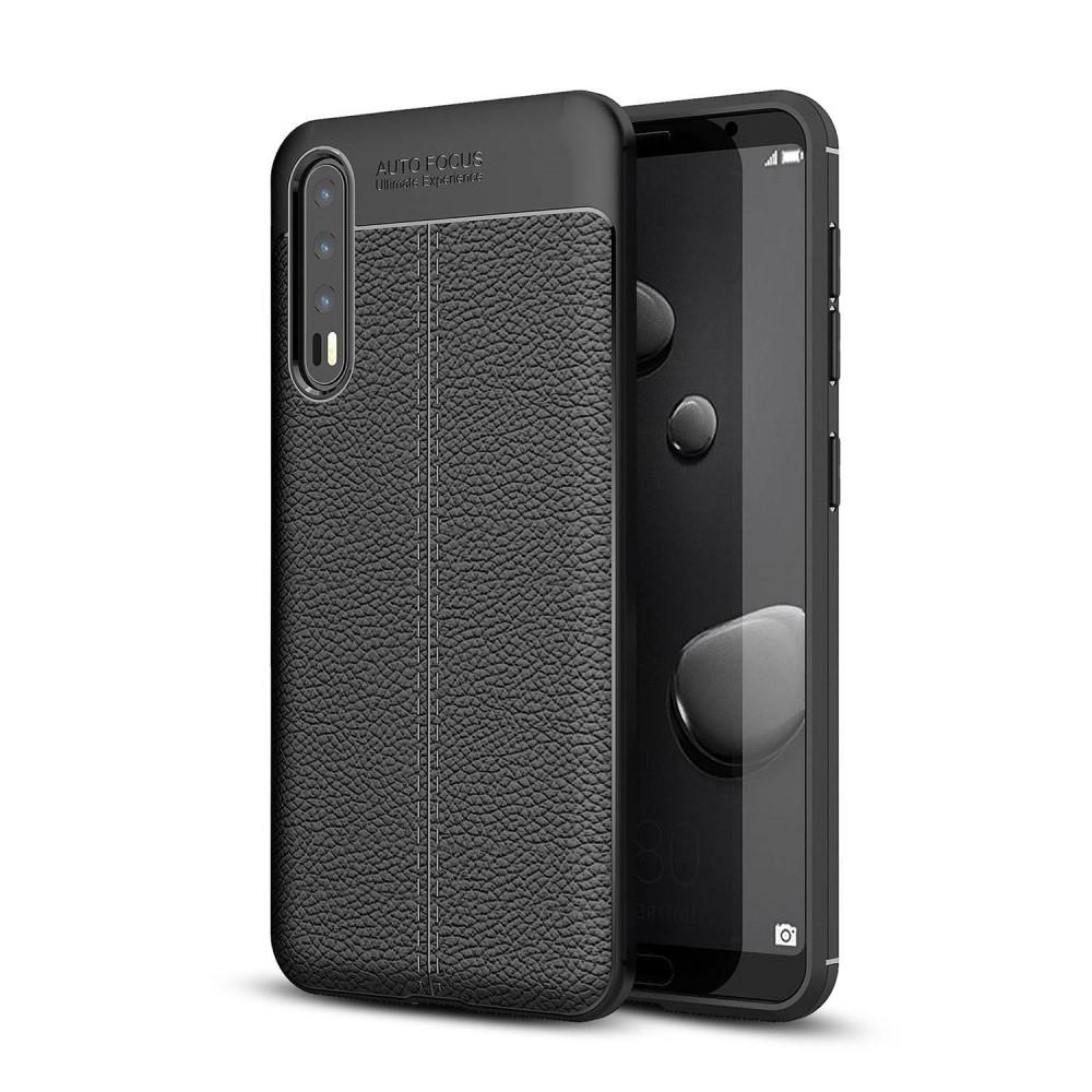 Image of   Huawei P20 Pro - Gummi cover med læder design - Sort