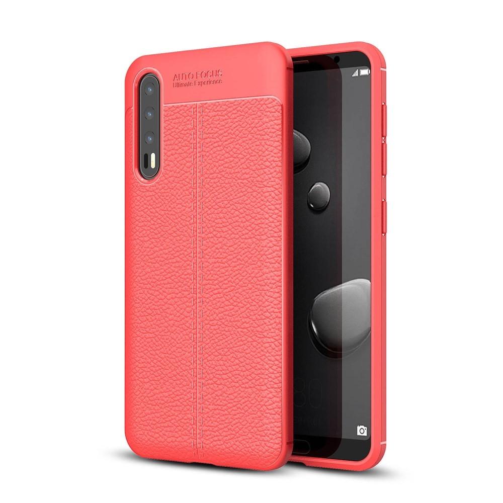 Image of   Huawei P20 Pro - Gummi cover med læder design - Rød