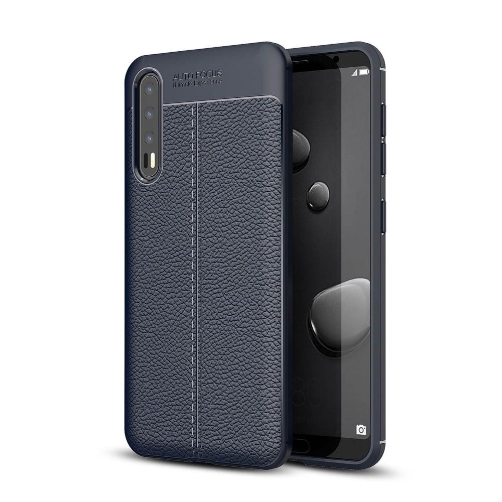 Image of   Huawei P20 Pro - Gummi cover med læder design - Mørkeblå
