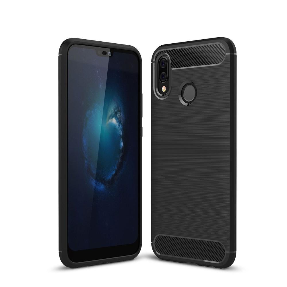 Image of   Huawei P20 Lite - Gummi cover med børstet carbon fibre design - Sort