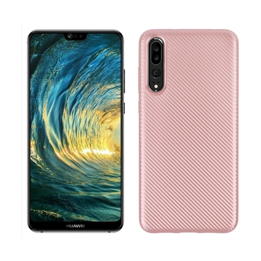 Image of   Huawei P20 Pro - Carbon fiber gummi cover - Rosa guld