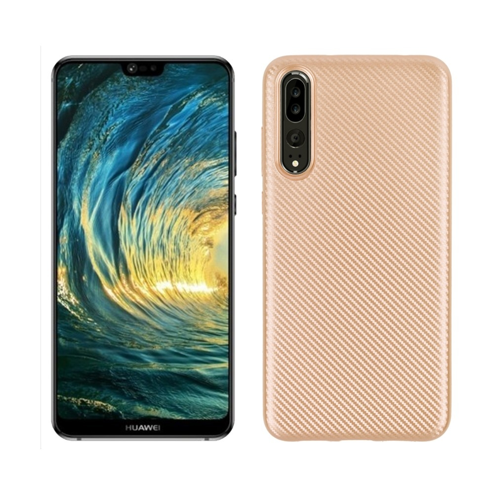 Image of   Huawei P20 Pro - Carbon fiber gummi cover - Guld