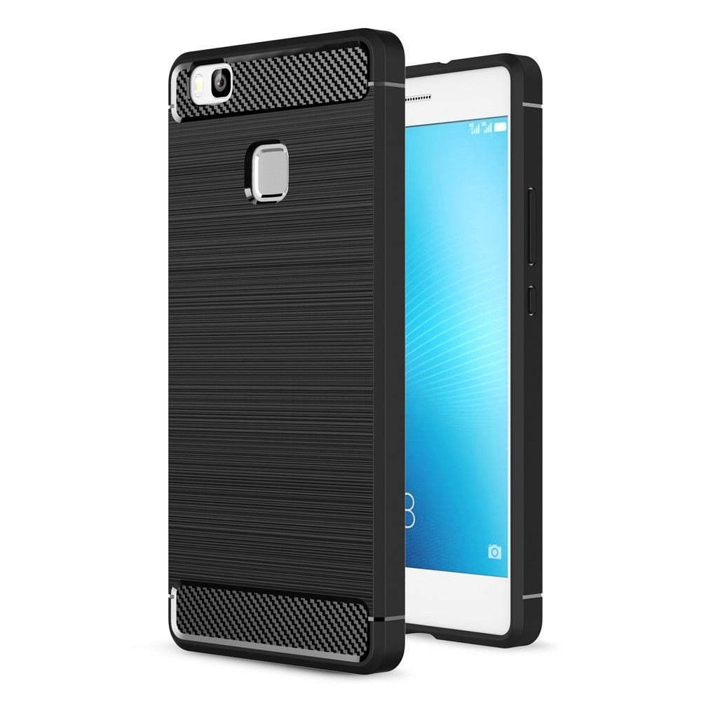 Image of   Huawei P9 Lite - TPU cover med børstet overflade - Sort