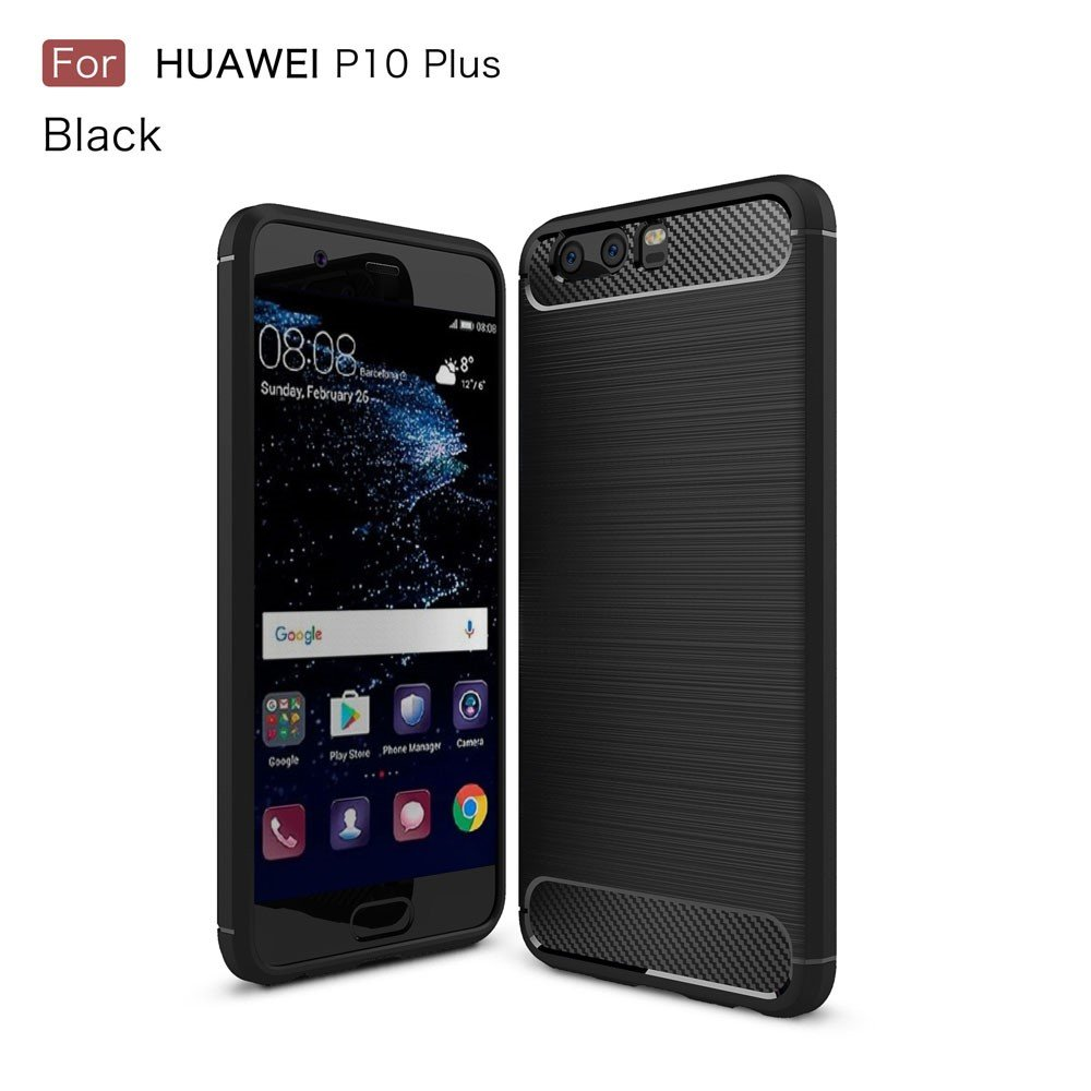 Image of   Huawei P10 Plus - TPU cover/Etui med Børstet overflade - Sort