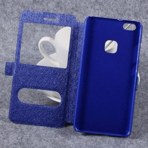 Huawei P10 Lite - Pu-læder cover m/silke tekstur og vindue - Blå