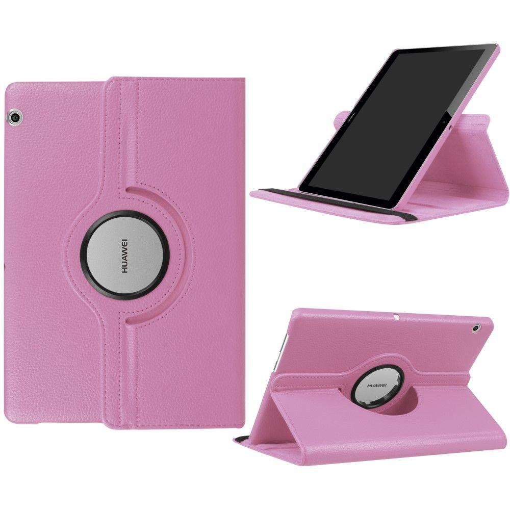 "Image of   Huawei MediaPad T3 10"" - Pu læder cover Litchi skin roterbart - Lyserød"