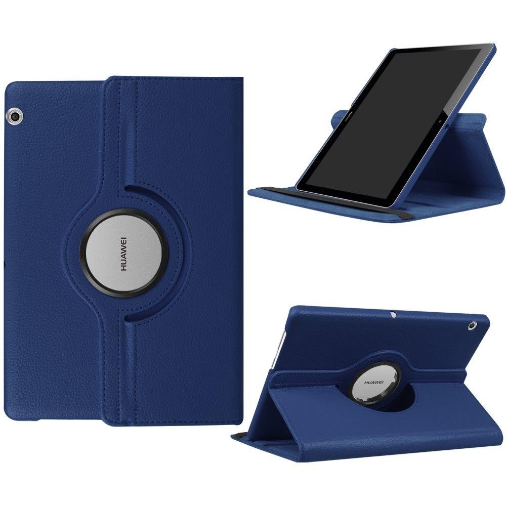 "Image of   Huawei MediaPad T3 10"" - Pu læder cover Litchi skin roterbart - Mørkeblå"