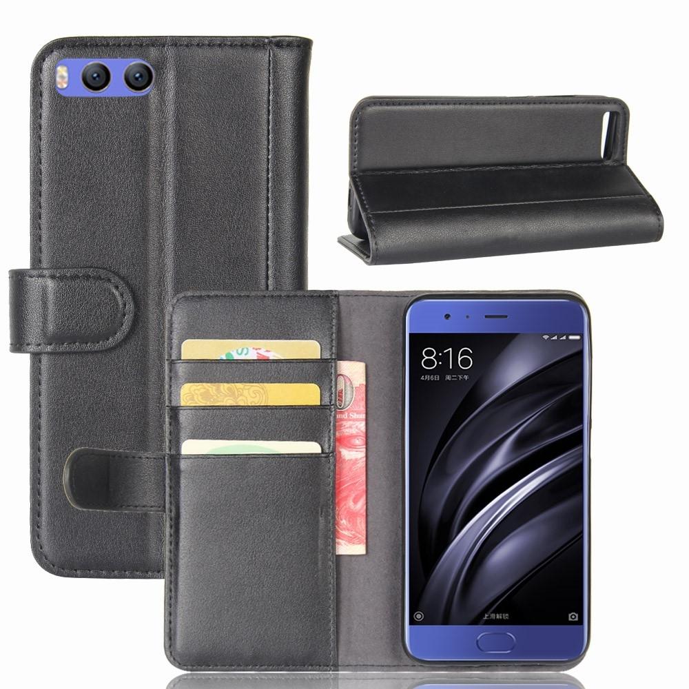 Xiaomi Mi 6 - Ægte læder cover / pung - Sort