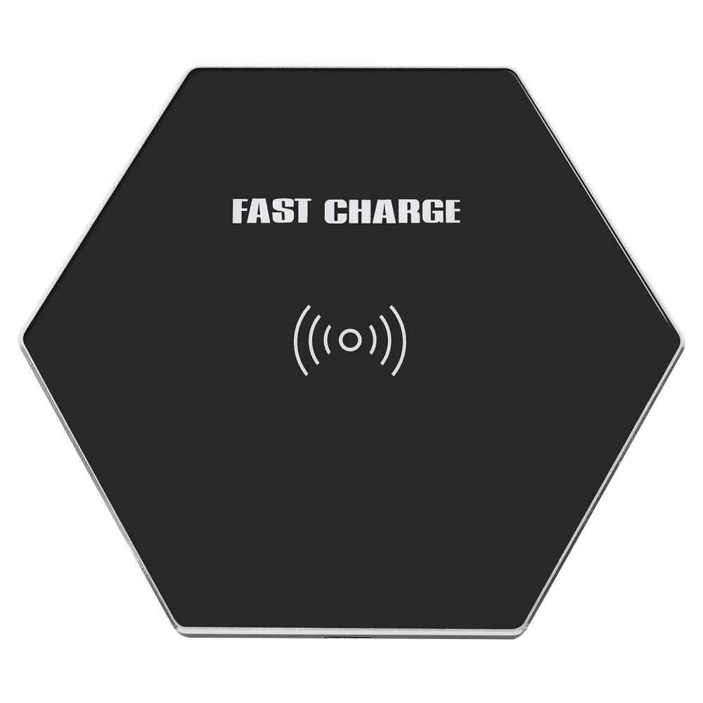 K8 Ultra-tynd Hexagon 10W Qi trådløs oplader - Sort