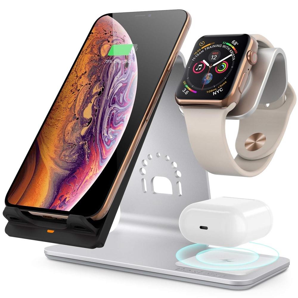 Billede af BESTAND - 3-i-1 Trådløs HURTIG oplader til smartphone & Apple Watch + Airpods - Sølv