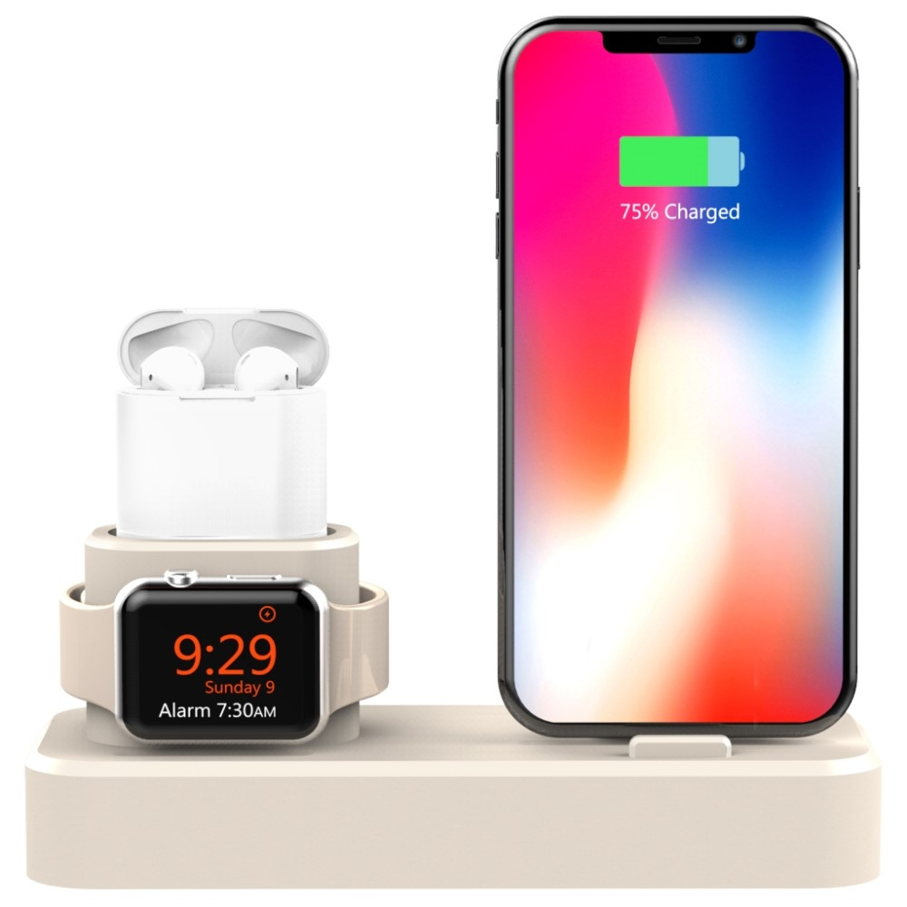 Image of   Smart 3-i-1 Oplader docking til iPhone / Apple Watch / AirPods - Guld