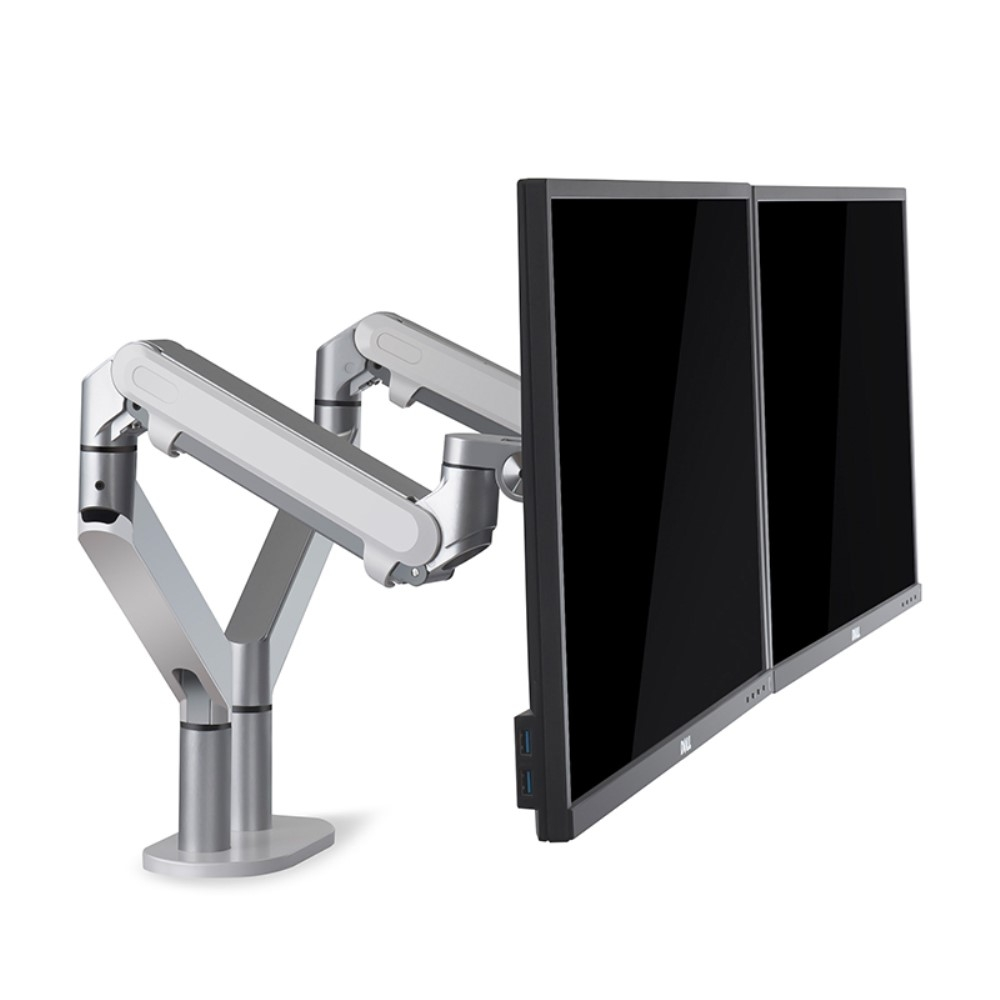 WERGON - Alma - Justerbar Dual monitorarm med Gasfjederarme - Monitor skærme Max 27