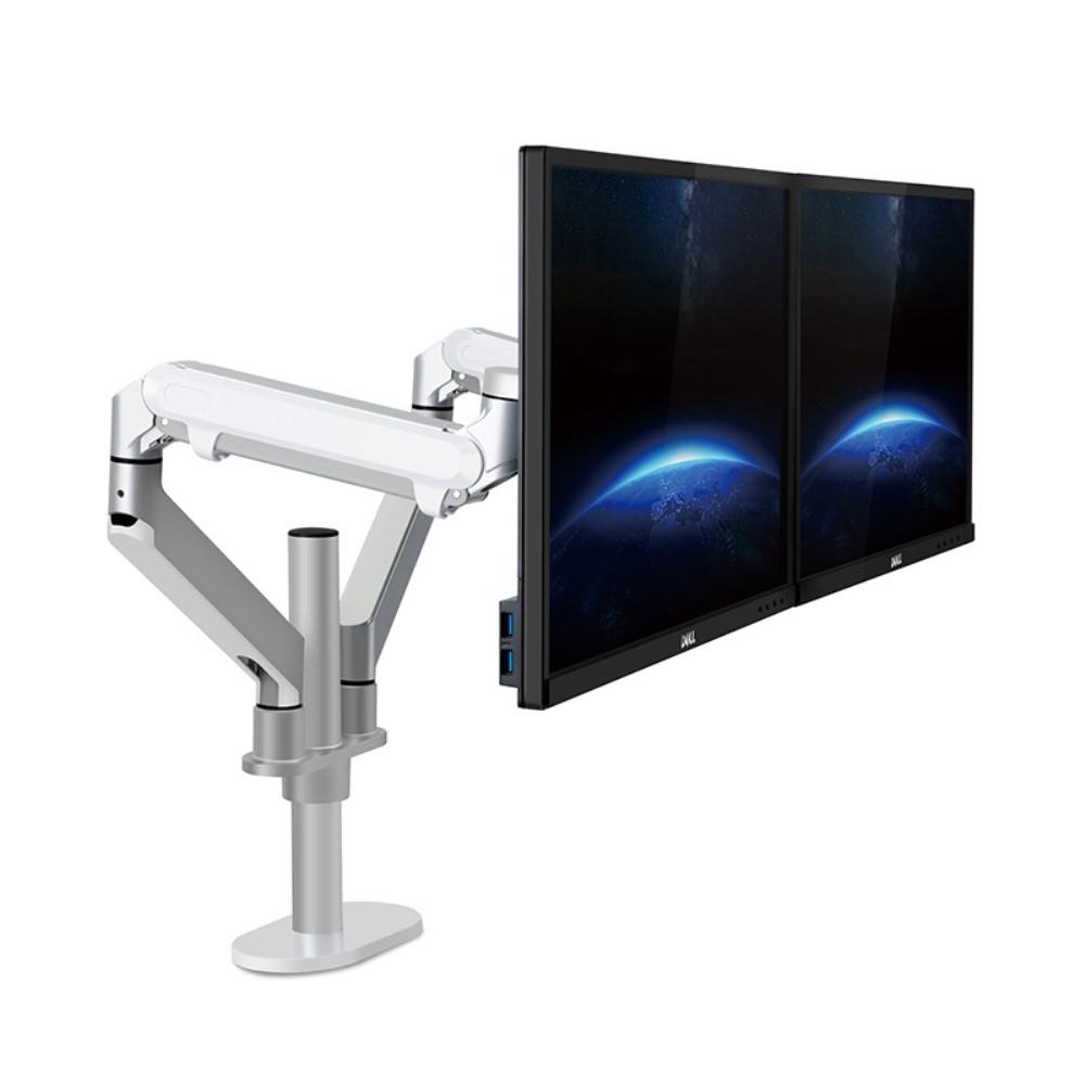 WERGON - Move - Justerbar Dual Desktop holder til to Skærme med Gasfjederarme - Monitor skærme Max 27