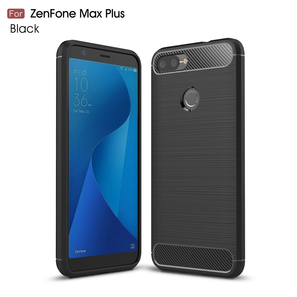 Image of   Asus Zenfone Max Plus (M1) - Gummi cover/etui i børstet design - Sort