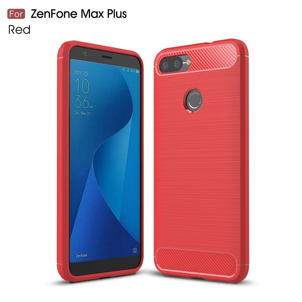 Image of   Asus Zenfone Max Plus (M1) - Gummi cover/etui i børstet design - Rød