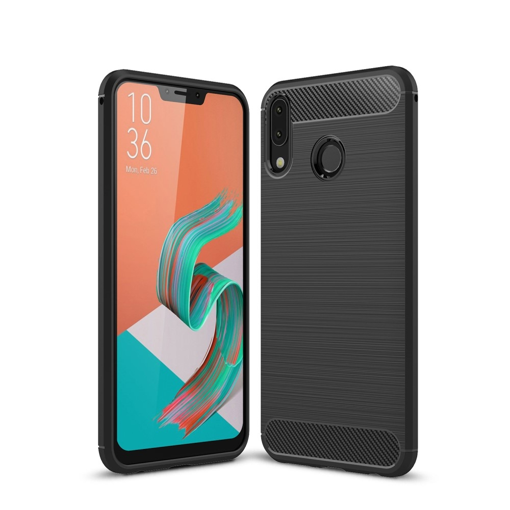 Image of   Asus Zenfone 5Z ZS620KL - Gummi cover med børstet design - Sort