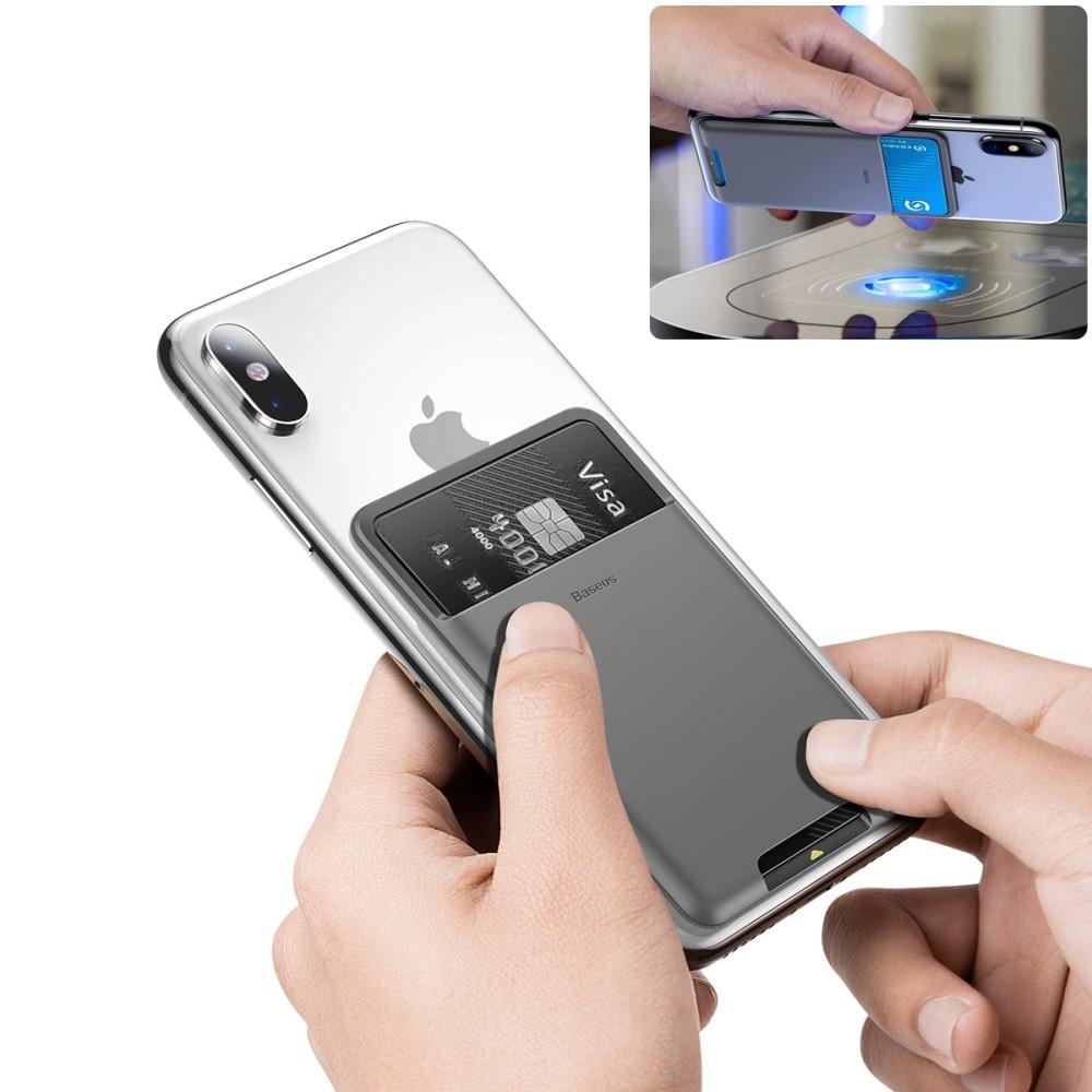 Image of   BASEUS - Kortholder til bagsiden af iPhone/Smartphone - Mørkegrå