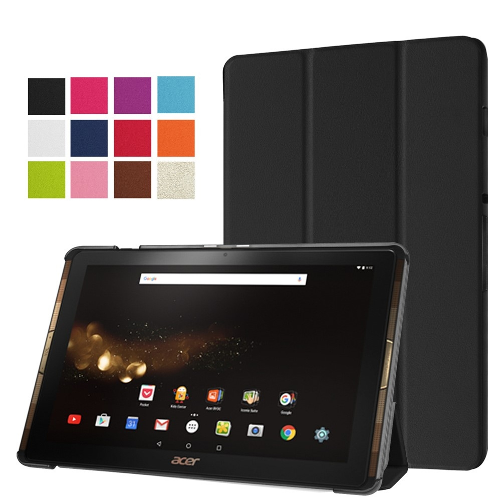 Image of   Acer Iconia Tab 10 A3-A40 - Læder Tri-Fold cover / etui - Sort