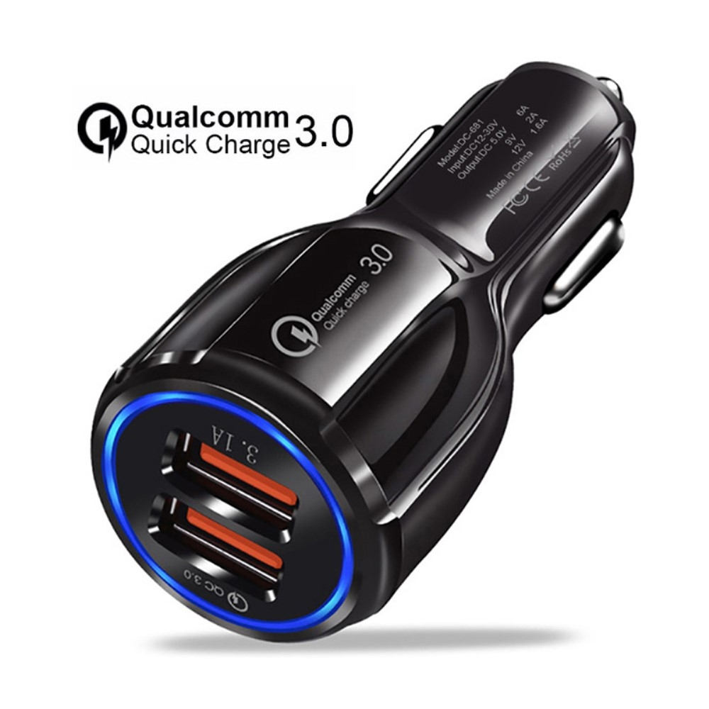 Image of   Dual oplader til bilen - Quick Charge 3.0 - Sort
