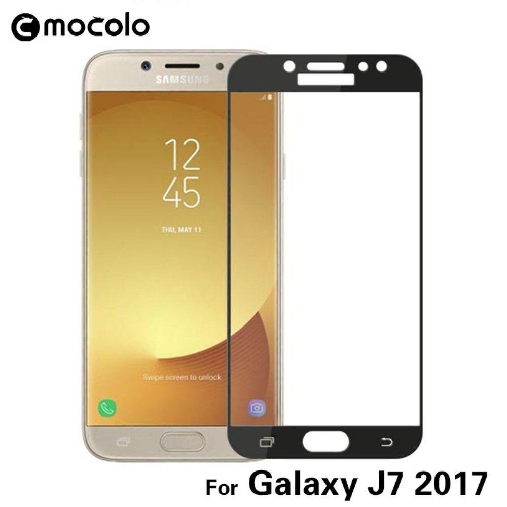 Galaxy J7 (2017) - Hærdet panserglas MOCOLO komplet dækning - Sort