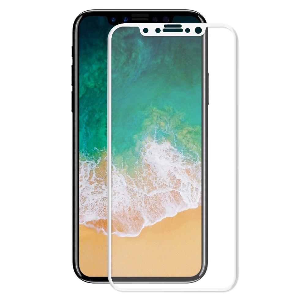 iPhone X - Hærdet panserglas 0,26 mm. HAT PRINCE fuld dækning - Hvid