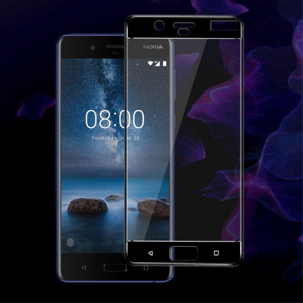 Nokia 8 - IMAK panserglas m/fuld dækning - Sort