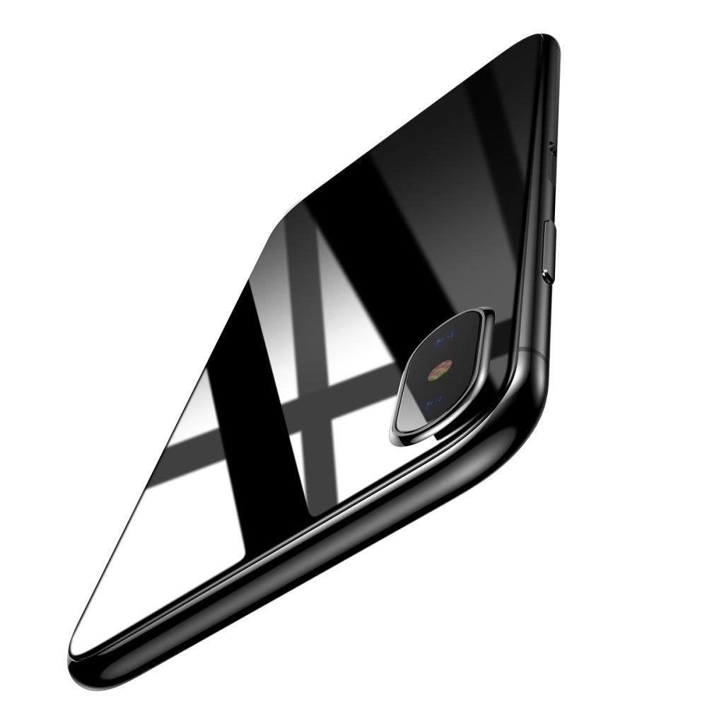 iPhone X - Hærdet panserglas 0,3 mm BASEUS til Bagside - Sort