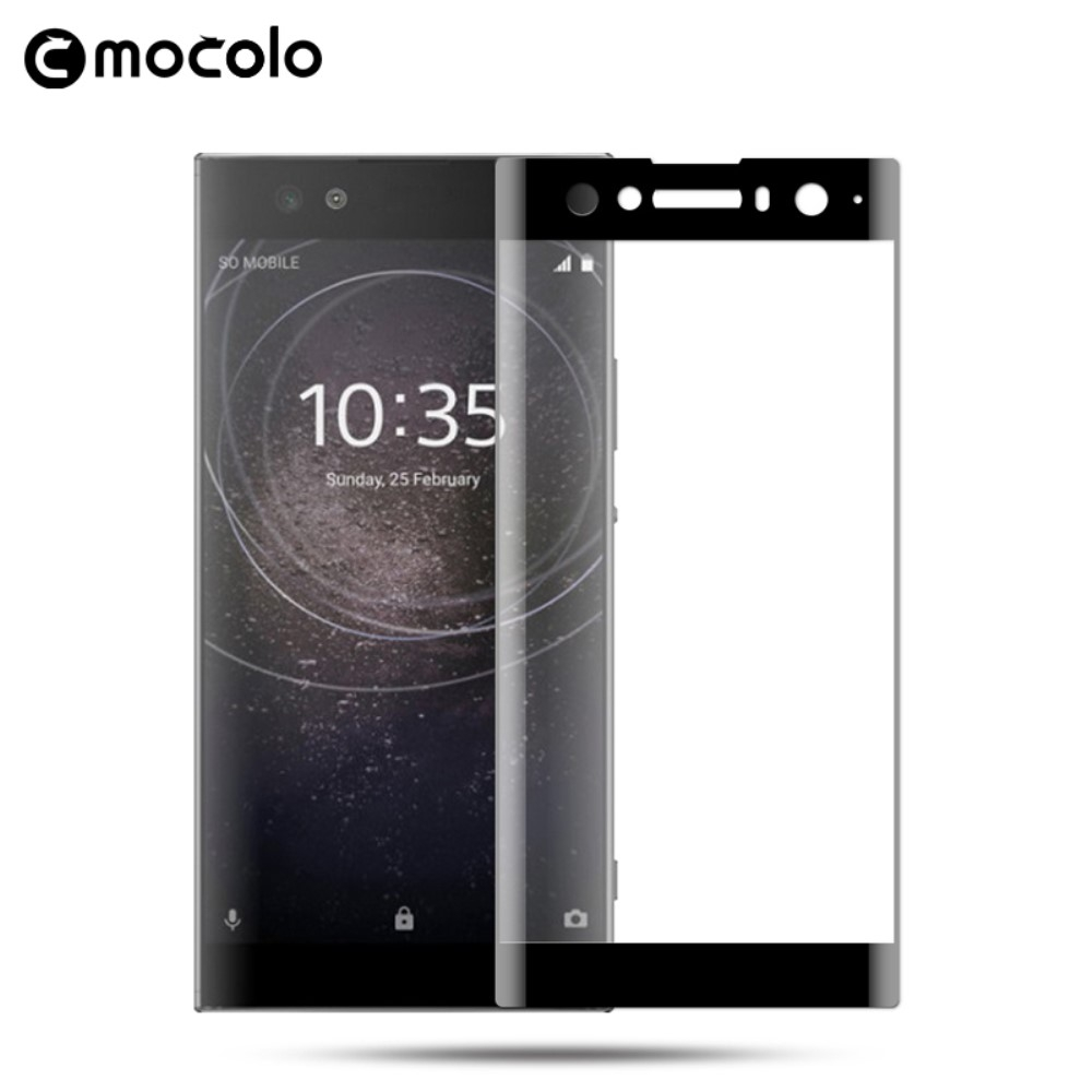 Sony Xperia XA2 Ultra - MOCOLO curved panserglas m/komplet dækning - Sort