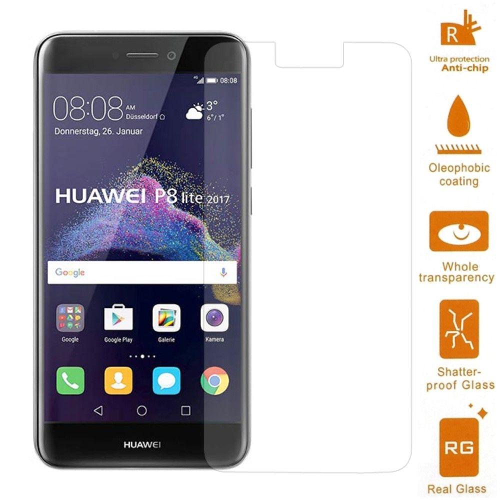 Huawei P8 Lite (2017) - Hærdet panserglas 0,3mm. med Arc Edge