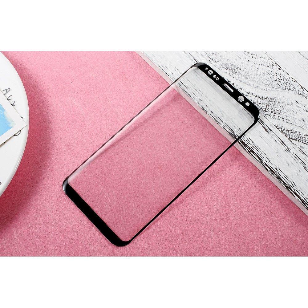 Image of   Galaxy S8 Plus - Hærdet panserglas med fuld beskyttelse AMORUS - Sort