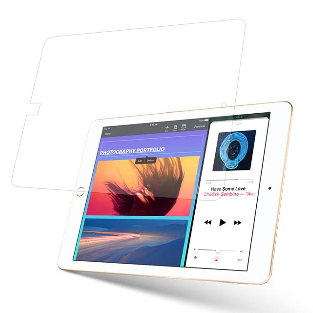 iPad 9.7 (2017 / 2018) - Hærdet Panserglas 0,3 mm (Arc Edge)