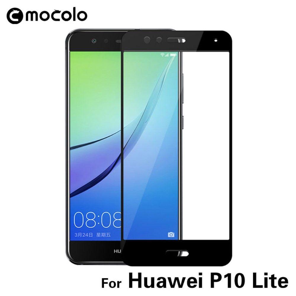 Huawei P10 Lite - MOCOLO Silk print panserglas m/komplet dækning - Sort
