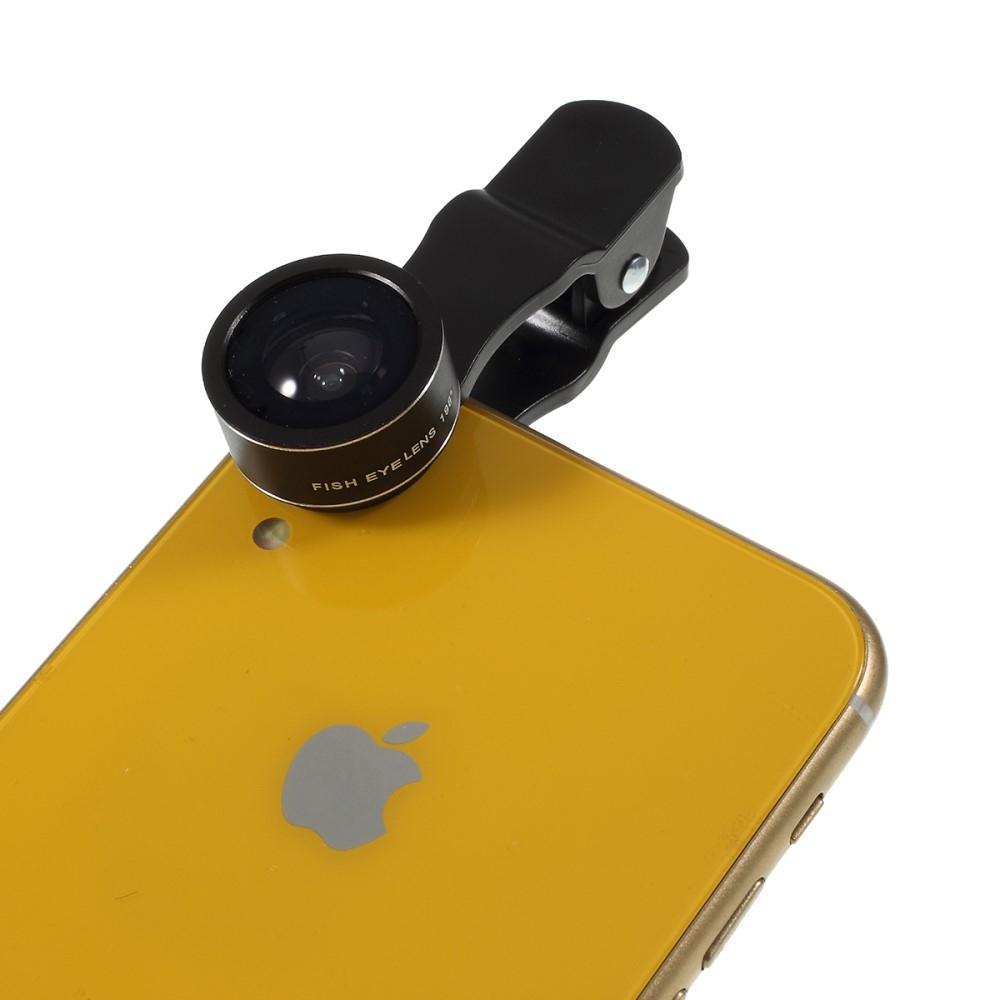 Image of   PICKOGEN - Super Vidvinkel Linse + 15 x makro linse + 198 grader fiskeøje linse - iPhone/smartphone