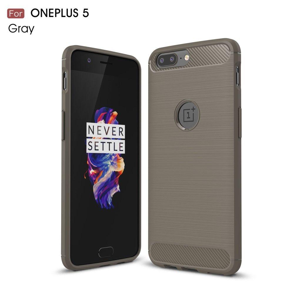 Image of   OnePlus 5 - TPU cover børstet design - Grå