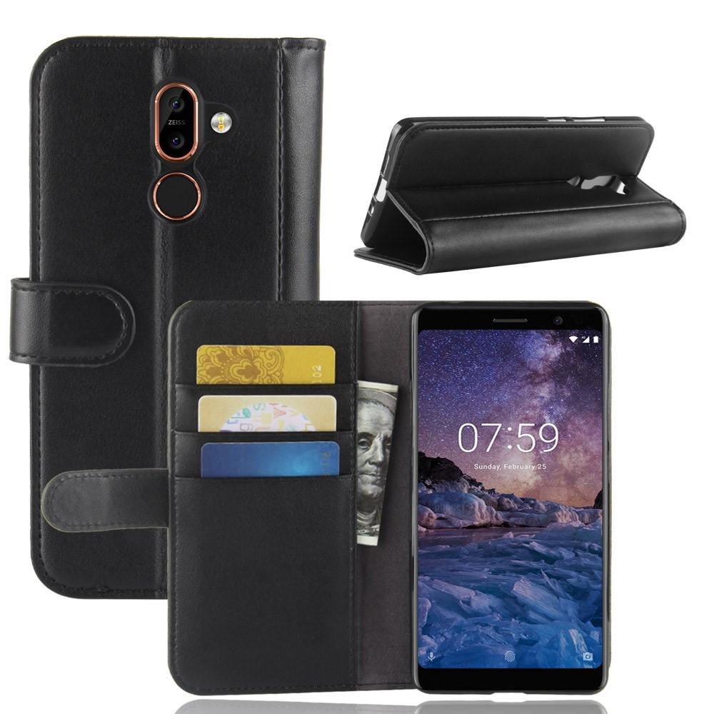 Nokia 7 Plus - Ægte læder cover / pung - Sort
