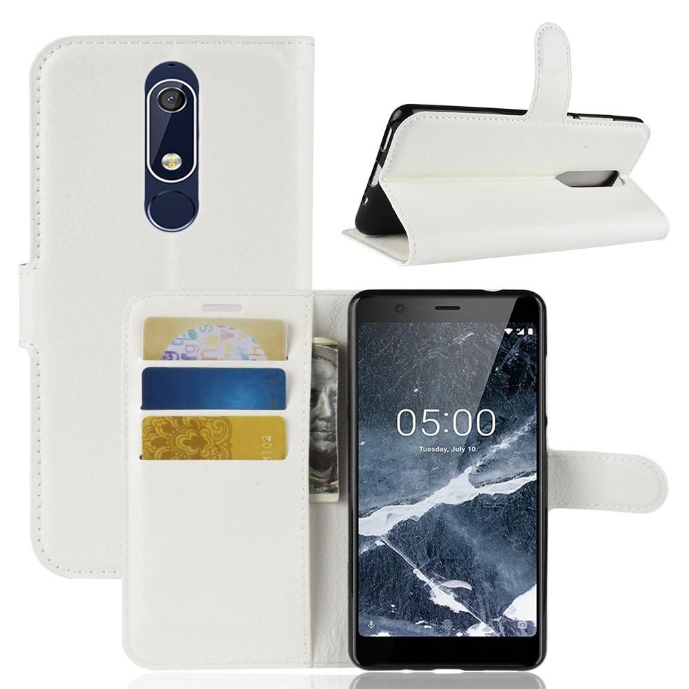 Billede af Nokia 5.1 - Læder cover/pung - Hvid